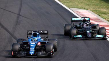 F1, GP Ungheria 2021: Fernando Alonso e Lewis Hamilton