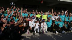 F1 GP USA 2019, Austin: il team Mercedes festeggia i doppio titolo mondiale