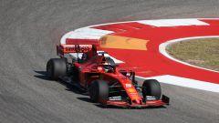 F1 GP USA 2019, Austin: Sebastian Vettel (Ferrari) con le mescole 2020 Pirelli