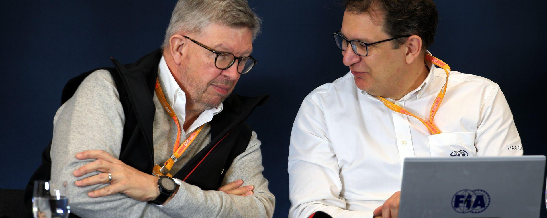 F1: il direttore sportivo Ross Brawn e il direttore tecnico FIA Nikolas Tombazis