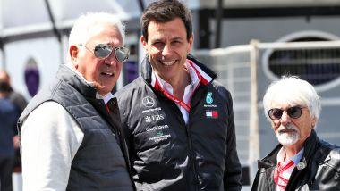 F1: Lawrence Stroll (Racing Point), Toto Wolff (Mercedes) e Bernie Ecclestone