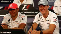 F1: Lewis Hamilton (McLaren) e Michael Schumacher (Mercedes)