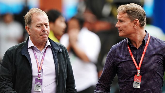 F1, Martin Brundle (a sinistra) con David Coulthard
