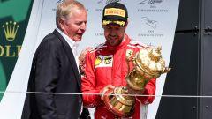 F1: Martin Brundle e Sebastian Vettel sul podio del GP Gran Bretagna 2018