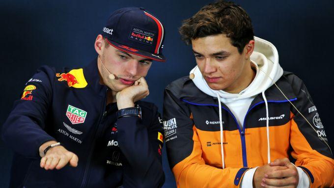 F1: Max Verstappen (Red Bull) e Lando Norris (McLaren)