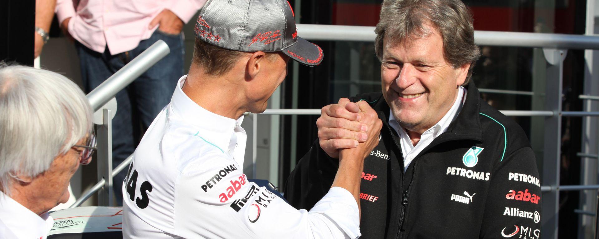 F1, Norbert Haug e Michael Schumacher alla festa per il 300° Gp del pilota tedesco