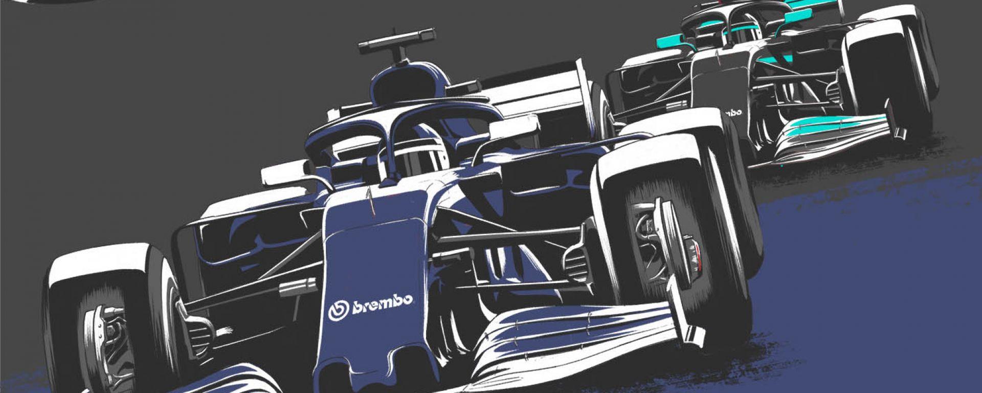 F1 Poster sorpasso AlphaTauri su Mercedes by Brembo