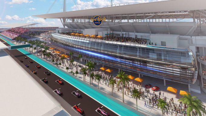 F1: rendering del circuito del GP Miami attorno all'Hard Rock Stadium