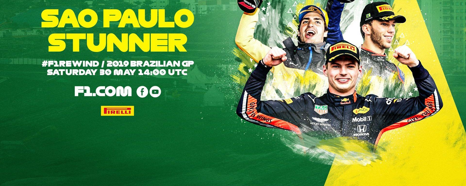 F1 Rewind, GP Brasile 2019: la locandina dell'evento su YouTube e Facebook
