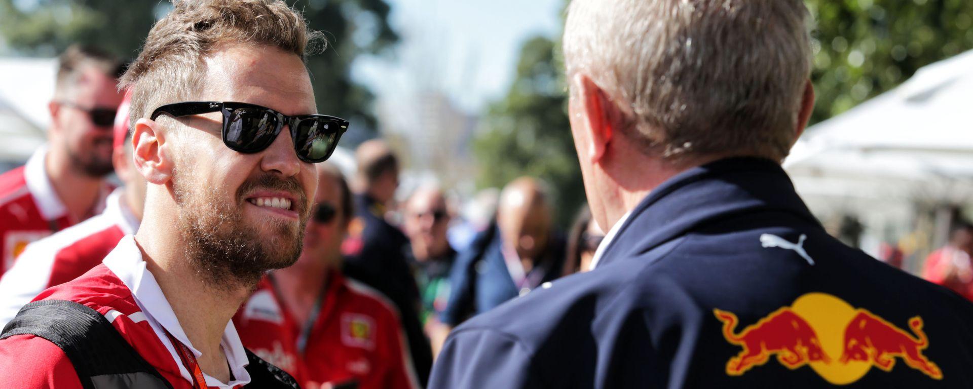 F1: Sebastian Vettel (Ferrari) ed Helmut Marko (Red Bull)