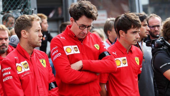 F1: Sebastian Vettel, Mattia Binotto e Charles Leclerc (Ferrari)