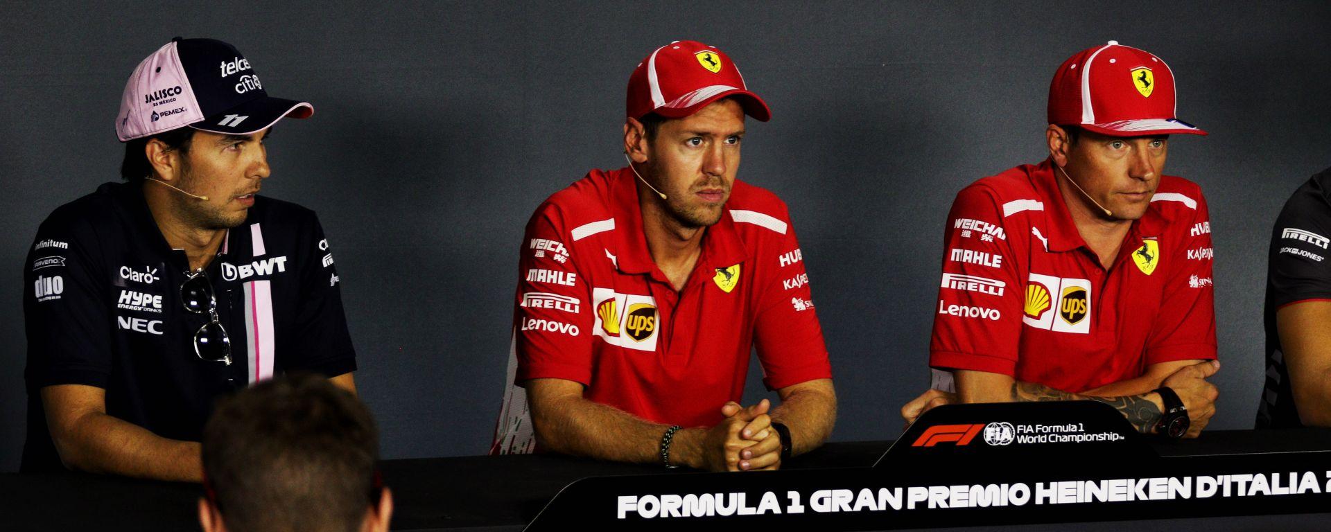F1: Sergio Perez (Racing Point) con Sebastian Vettel e Kimi Raikkonen quando erano compagni di squadra in Ferrari