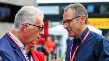 F1, Stefano Domenicali nel paddock con Piero Ferrari
