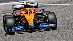F1 Test Bahrain 2021, Sakhir: Lando Norris alla guida della McLaren MCL35M