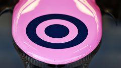 F1 Test Barcellona 2020: il logo del team Racing Point sul musetto della RP20