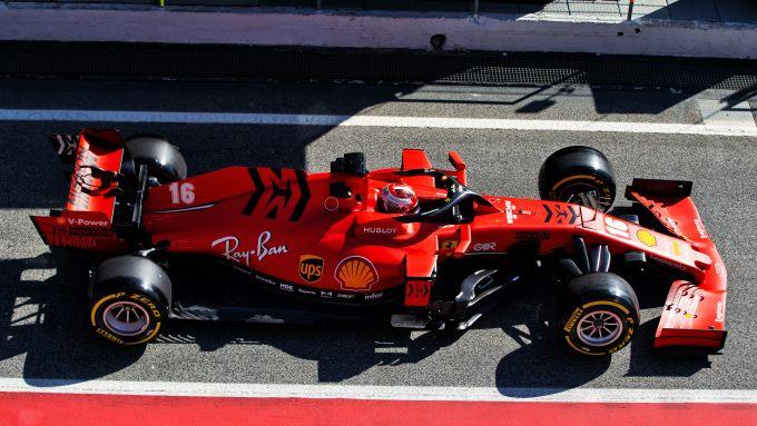 F1 Test Barcellona 2020, la Ferrari SF1000 vista dall'alto