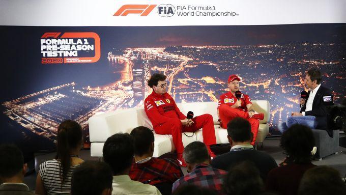 F1 Test Barcellona 2020: Mattia Binotto e Sebastian Vettel (Ferrari) in conferenza stampa