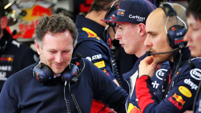 F1 Testing: Max Verstappen e Chirs Horner (Red Bull)