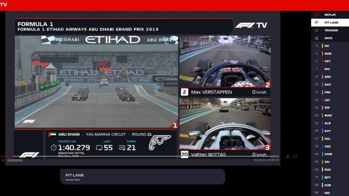F1 TV, una delle schermate a disposizione degli abbonati