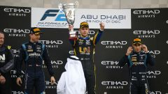 F2 GP Abu Dhabi 2019, Yas Marina: il podio con (da sinistra) Latifi, Ghiotto e Sette Camara
