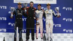 F2 GP Russia 2019, Sochi: il podio con (da sinistra) Latifi, De Vries e Deletraz