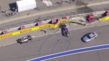F2 GP Russia 2019, Sochi: le immagini dell'incidente di Matsushita e Mazepin
