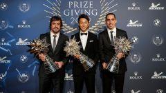 Fernando Alonso, Kazuki Nakajima, Sebastien Buemi, campioni WEC 2018-19 al Prize Giving Gala 2019