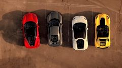 Ferrari 488 GTB, McLaren 675LT, Lamborghini Huracan e Corvette Z06 viste dall'alto