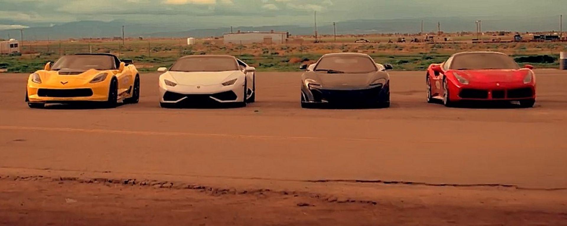 Ferrari 488 GTB vs Lamborghini Huracan vs McLaren 675LT vs Corvette Z06: le sfidanti