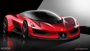 Ferrari Electrica Concept by tyler Kwon design: vista 3/4 anteriore