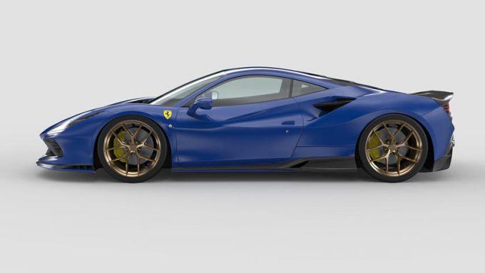 Ferrari F8 Tributo by 1016 Industries: di profilo per vedere alcuni pezzi del kit