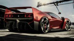 Ferrari SP42: l'erede della F40 immaginata da Samir Sadikhov vista di 3/4 posteriore