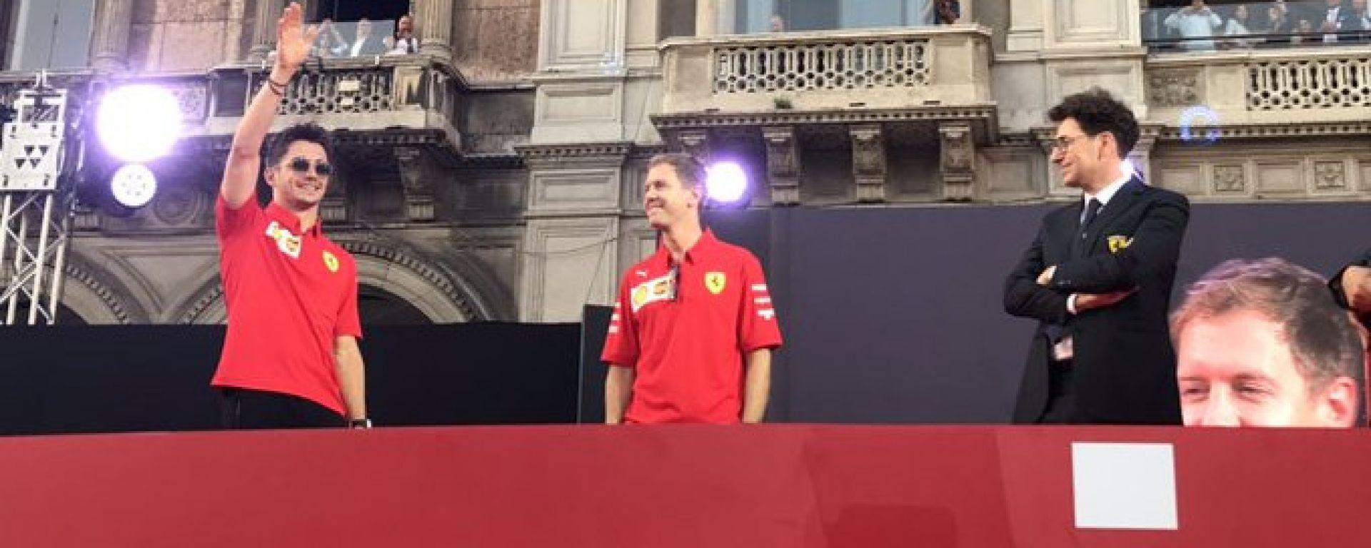 Festa 90 anni Ferrari, piazza Duomo, Milano: Charles Leclerc, Sebastian Vettel e Mattia Binotto
