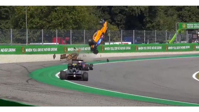 FIA F3, GP Italia 2019, Monza, gara-1. L'incidente di Alex Peroni (Campos Racing)