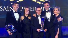 FIA Prize Giving 2018 - George Russell, Andy Cowell con la moglie, Toto Wolff e la compagna Susie Wolff