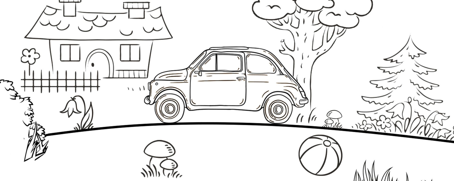 Fiat 500 Colorbook: immagine da colorare