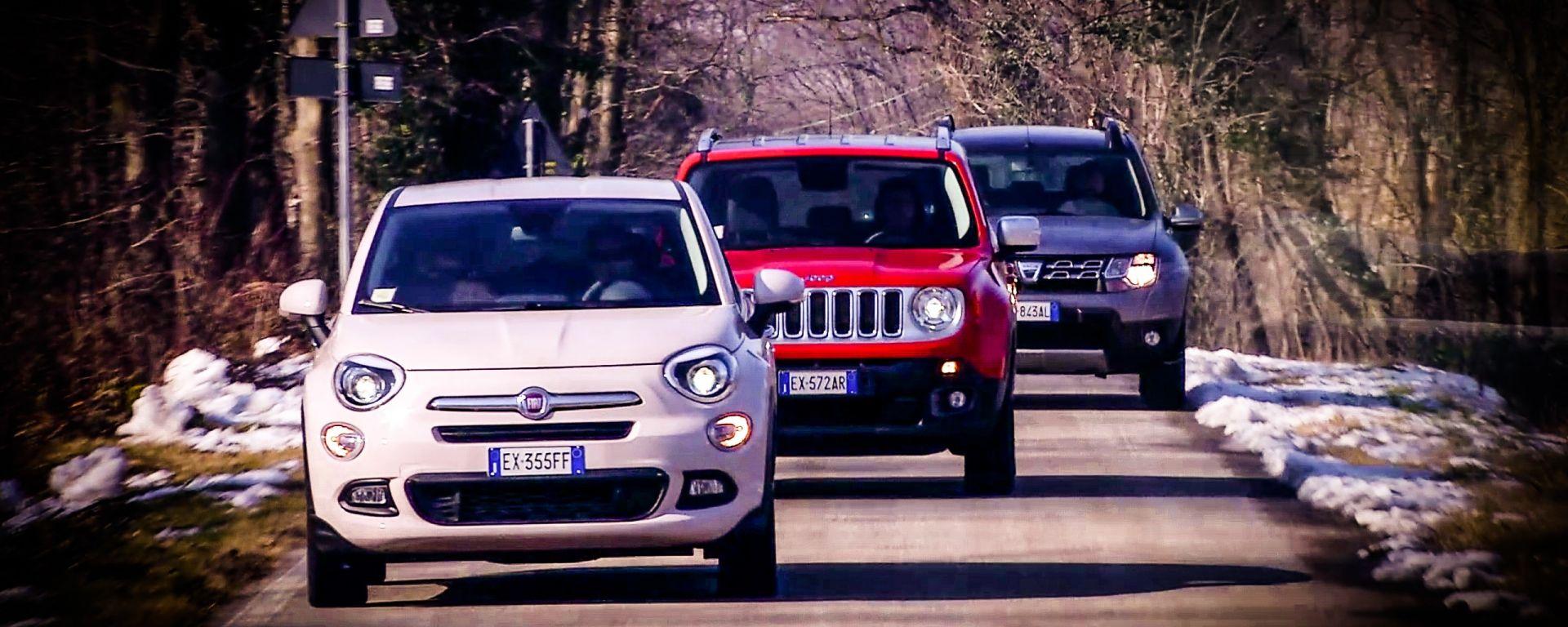Fiat 500X vs Jeep Renegade vs Dacia Duster: il video