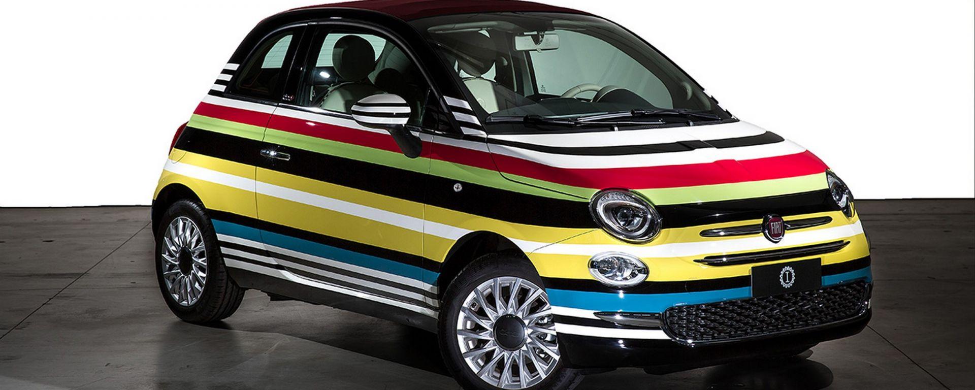 Fiat battuta all 39 asta la 500c missoni customizzata da for 2 kit da garage per auto