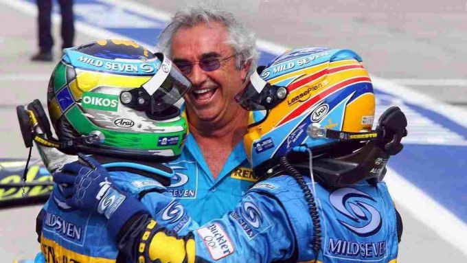 Flavio Briatore con Alonso e Fisichella