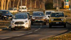 Ford Ecosport, Dacia Duster, Jeep Renegade, Suzuki Jimny e Fiat 500: la prova su strada