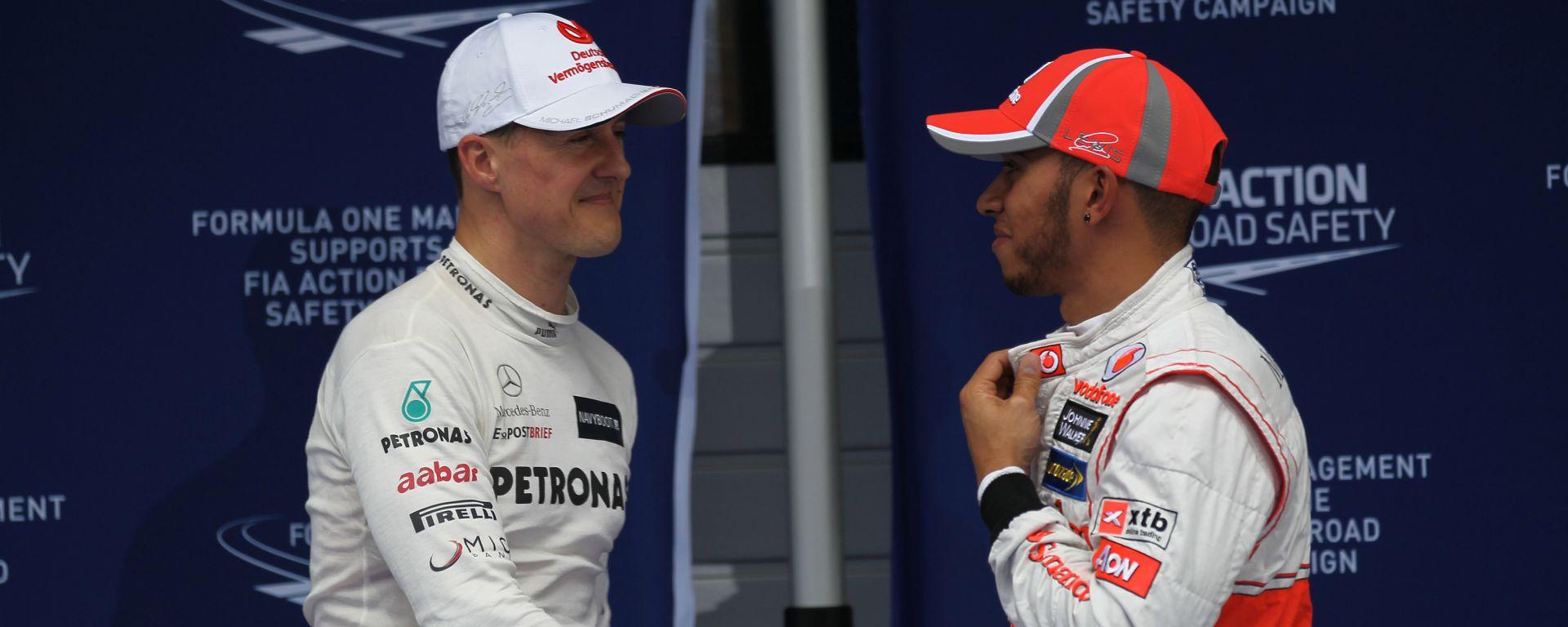 Formula 1 2012, Michael Schumacher e Lewis Hamilton