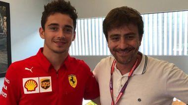 Formula 1: Daniele Sparisci (Corriere della Sera) con Charles Leclerc (Scuderia Ferrari)