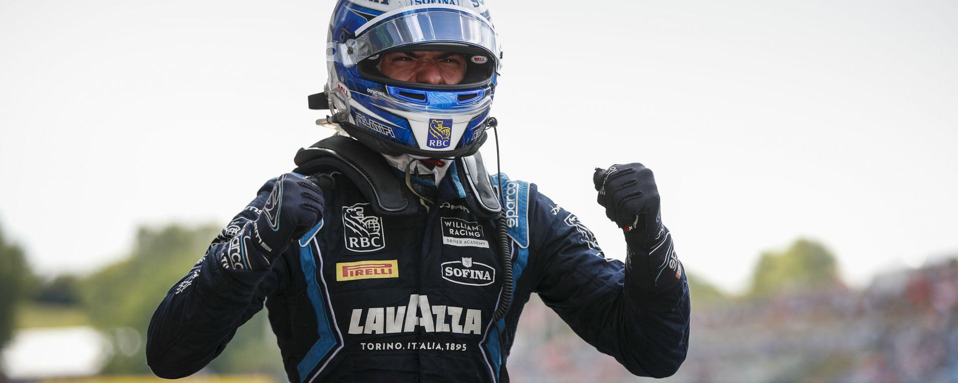 Formula 2 2019, Budapest: Nicholas Latifi (Dams) esulta dopo il traguardo