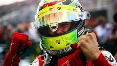 Formula 2, Budapest 2019: Mick Schumacher (Prema) esulta dopo il traguardo