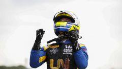 Formula 2 Silverstone 2019, Luca Ghiotto esulta dopo aver vinto la Feature Race