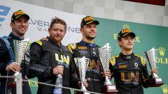 Formula 2 Silverstone 2019, Luca Ghiotto sul podio con Nicholas Latifi e Guanyu Zhou