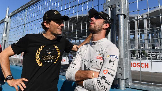 Formula E 2018-2019, ePrix New York 2019: Pedro De La Rosa (a sinistra) con Jean-Eric Vergne (a destra)