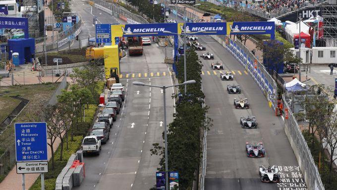 Formula E 2018-2019, le monoposto durante l'ePrix di Hong Kong
