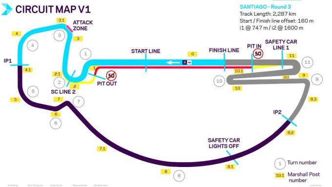 Formula E 2019-2020, il circuito dell'ePrix di Santiago