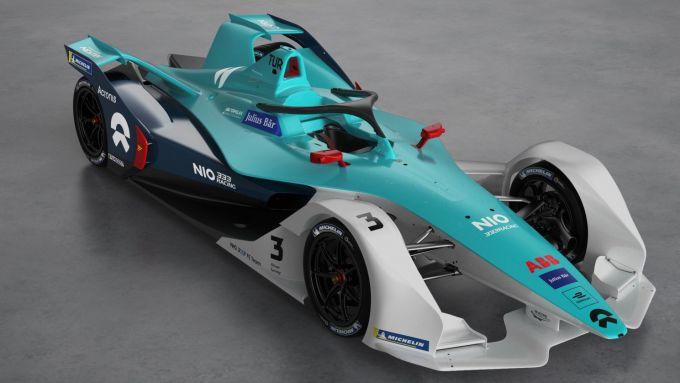 Formula E 2019-2020, la nuova NIO 333 Racing: vista 3/4 anteriore